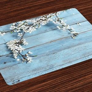 Rustic Place Mats Set of 4, Branch w Blooming Spri